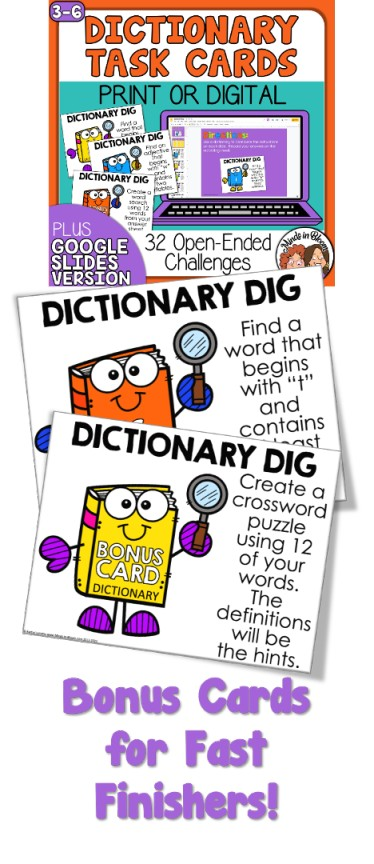 Dictionary Activity Challenge for Students