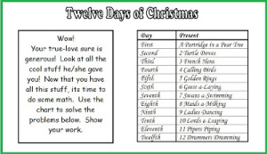 FREE Twelve Days of Chirstmas Math Word Problems