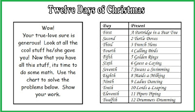 math worksheet : free twelve days of chirstmas math word problems  minds in bloom : Free Math Christmas Worksheets