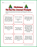free christmas tic tac toe journal prompts