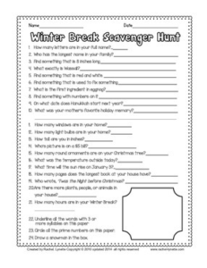 Are you a parent looking for something to occupy your kids while they're home for winter break? This scavenger hunt will have them searching and playing!