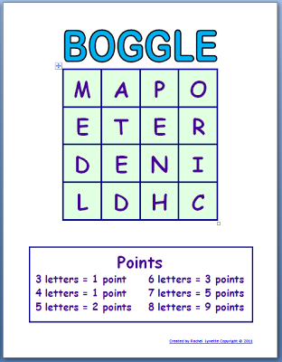 Free Boggle Templates for your Classroom - Minds in Bloom