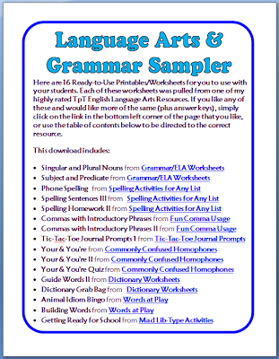 FREE Grammar & Language Arts Worksheets - 16 Printable Pages