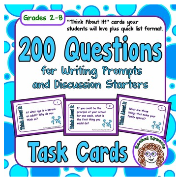 Get 20 free back to school writing prompts in this post! If that isn't enough, you can check out a bundle of 200 writing prompts and discussion starters!