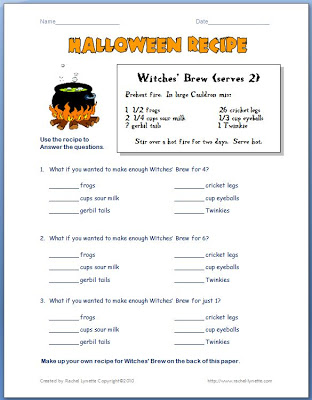 Looking to add a little educational fun to your Halloween celebration? These Witches' Brew activities will have your students writing and doing math!