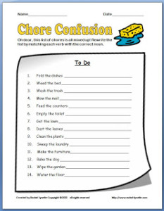 Free Chore Noun and Verb Printable!