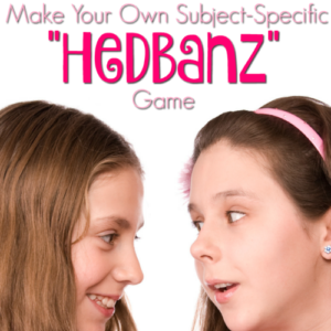 HedBanz is a game based on a simple game that we all used to play at parties when we were kids. Make your own subject-specific version DIY-style!