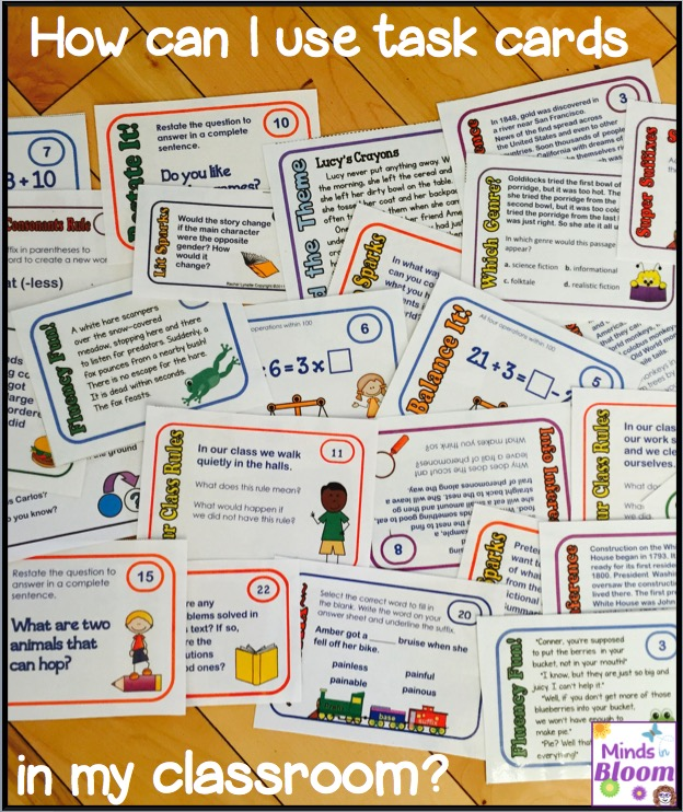 Teachers can use task cards for reinforcement, for enrichment, in groups, and more. Learn more about my recommendations for ways to use task cards in your classroom inside this blog post. I also give tips for implementing my recommendations!