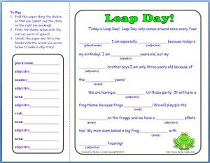 FREE Leap Day Mad Lib!