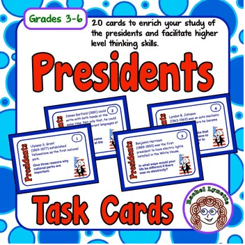 Celebrate Presidents Day with this set of 20 Presidents Task Cards! There's a piece of trivia on each task card, along with a question, about some of the U.S. presidents. Your students will enjoy learning a little history and learning more about our nation's presidents with this task card set - plus, it's FREE!