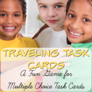 Looking for a new game to play with multiple choice task cards? This fun Traveling Task Cards game might be just what you're looking for! Click through to this post to learn how to set up this game and to get instructions for playing it.