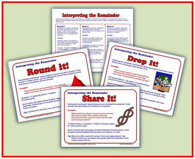 Free Interpreting Remainders Handout And Posters Minds In Bloom