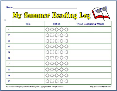 Free summer reading log minds in bloom for 4th grade reading log template