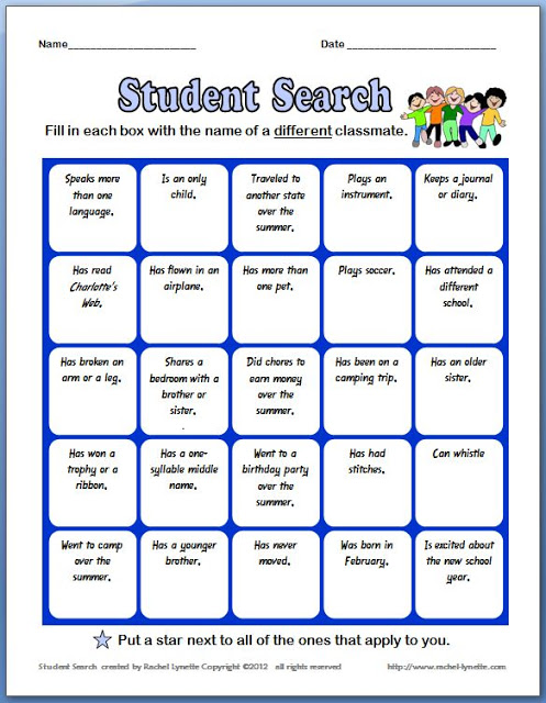 image regarding Back to School Bingo Printable identified as No cost Back again in direction of Faculty Ice Breaker! - Minds in just Bloom