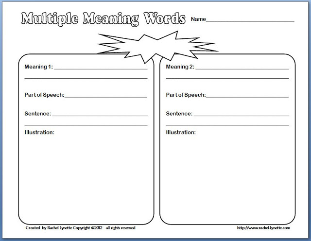 Exploring Multiple Meaning Words and a Freebie Minds in Bloom – Words with Multiple Meanings Worksheet