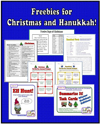 This blog post gives more information about six of Rachel's favorite freebies for Christmas and Hanukkah. Your kiddos can still have fun in the last days of school before holiday break while learning at the same time!