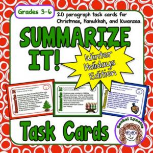 FREE Summarizing Task Cards for Christmas, Hanukkah and Kwanzaa
