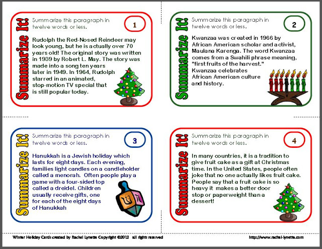 Summarizing task cards are an excellent addition to your centers or to your classroom games. This set of summarizing task cards features a winter holidays theme, covering Christmas, Hanukkah, and Kwanzaa. Plus, they're free!
