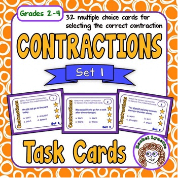Contractions Task Cards Set 1 - Grades 2-4