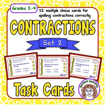 Contractions Task Cards Set 2 - Grades 2-4