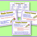 Grab these free sentence posters to hang up in your classroom! These posters cover three types of sentences: simple sentences, compound sentences, and complex sentences. The posters make a great reminder for your students to reference when they're practicing identifying types of sentences!