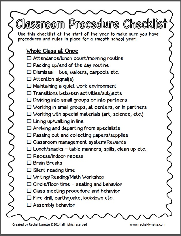 classroom procedure checklist for back to school - free