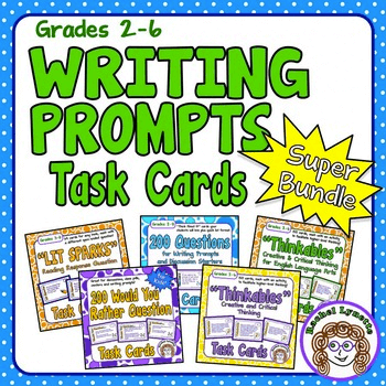 Grades 2-6 Writing Prompts Task Cards Super Bundle