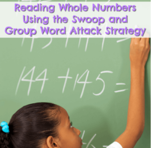 Reading whole numbers is an important math literacy skill and is one that's closely related to place value. Students often misread whole numbers, so teach them the swoop and group word attack strategy, which is often used in reading literacy instruction. It works for math, too!