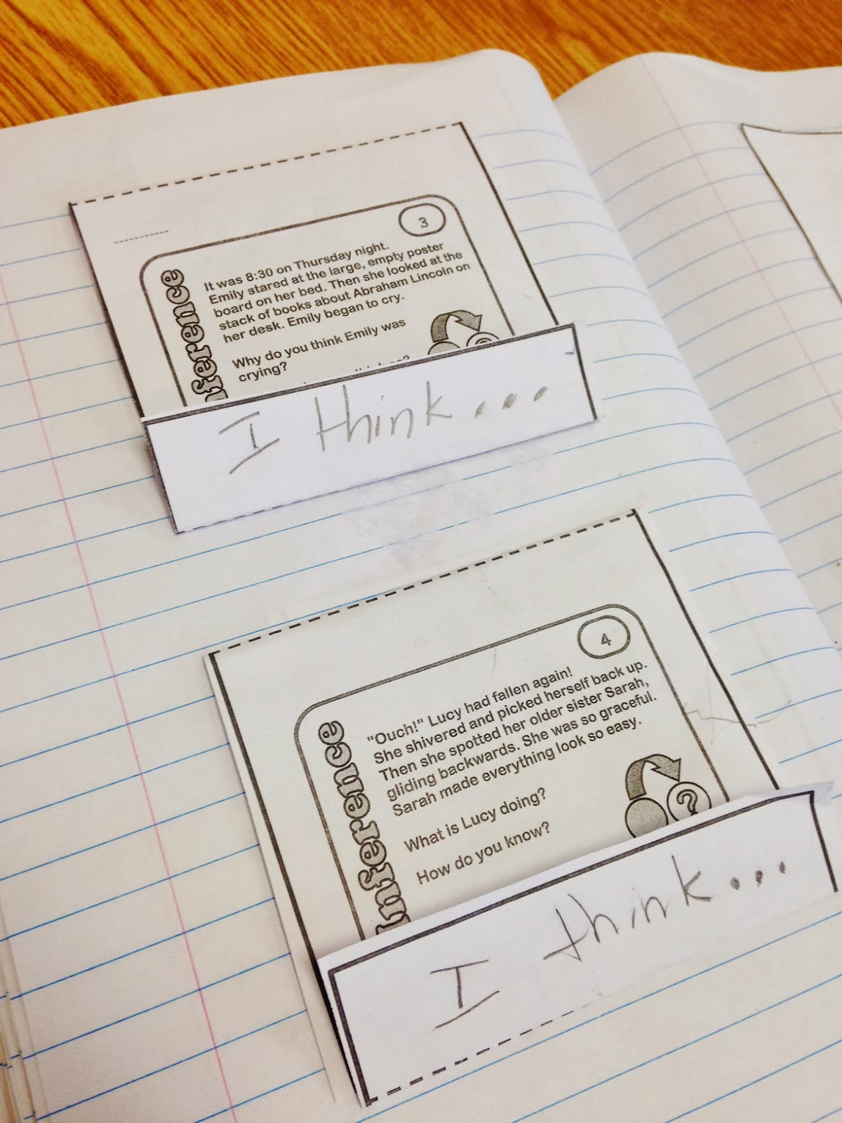 task cards for interactive notebooks