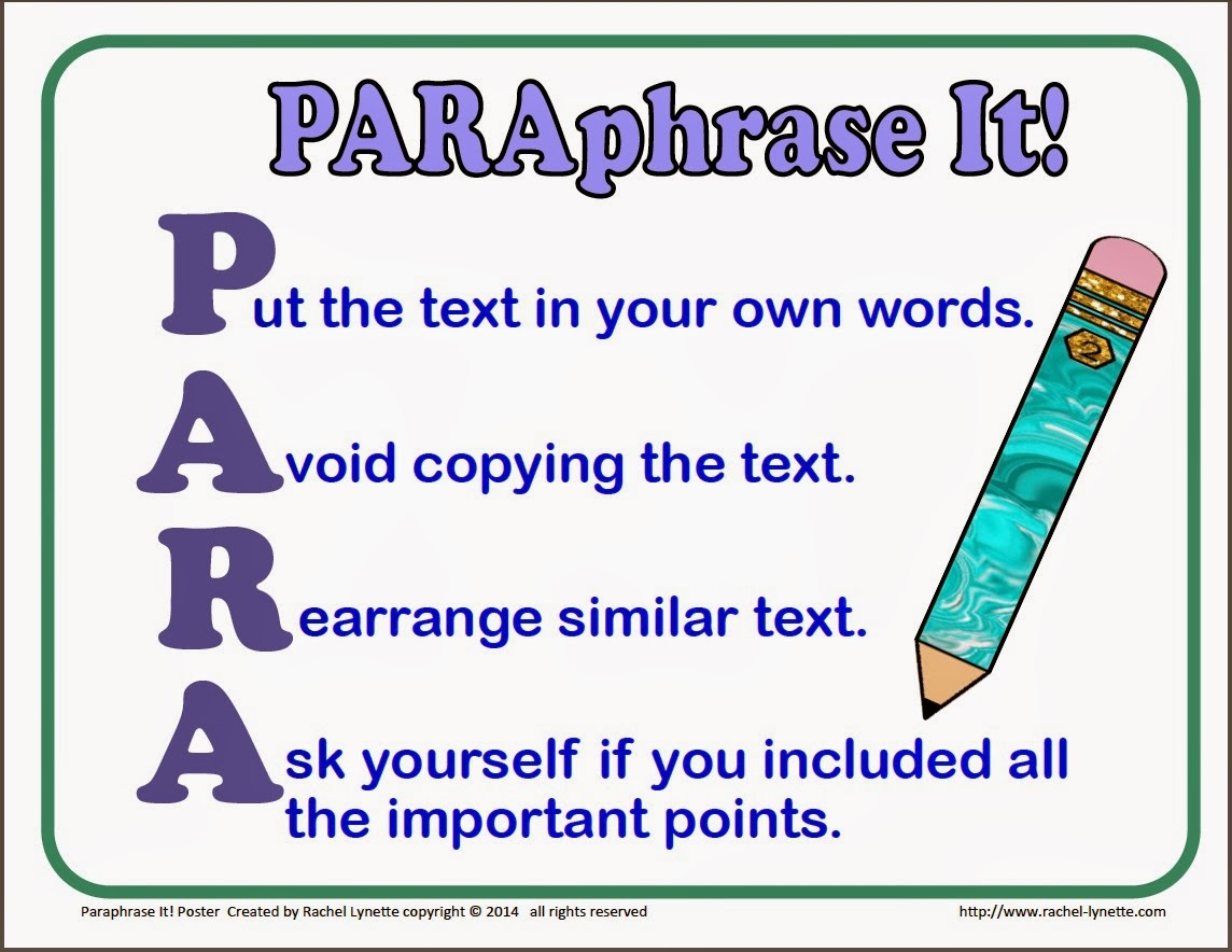 Summarizing and paraphrasing activities easy