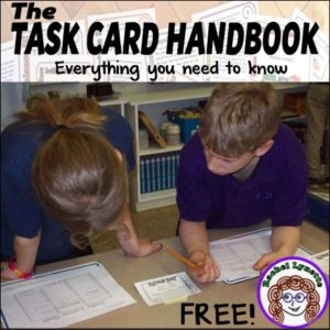 Have you downloaded your FREE copy of my Task Card Handbook yet? This handbook is jam-packed with information about using task cards, including information on making them. It's the perfect resource for both newcomers and old hats, when it comes to task cards. Enjoy!