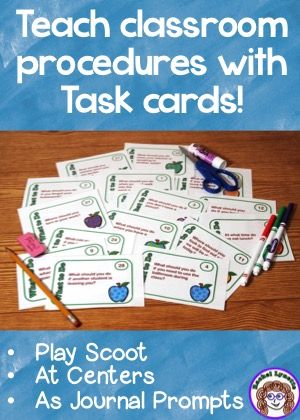 Classroom procedure task cards for games, back to school