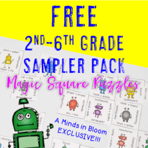 Magic Square Puzzles are a creation by Heather of HoJo's Teaching Adventures. They're the perfect supplement for both ELA and math, and they're perfect for review, enrichment, and early finishers! Learn more about them in her guest post on Minds in Bloom and get a forever freebie to some sampler puzzles!