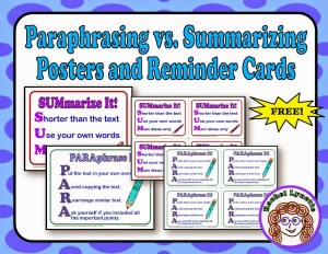 Paraphrasing and summarizing are two reading comprehension skills that are very challenging for students to master. I've broken them down into acronyms to help students tell the difference between these two skills, and I've created FREE posters that you can download and hang in your classroom for reminders to students!