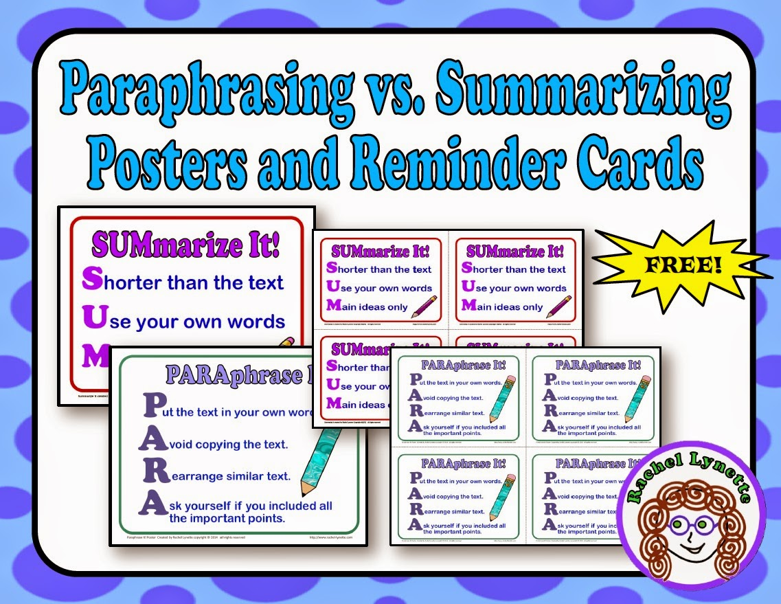 Summarizing and paraphrasing lesson plans