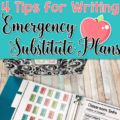 Every teacher has to take a day off sometimes, either expectedly or unexpectedly! Our guest blogger share four tips for writing emergency substitute plans in this guest post for when you have to take off unexpectedly. Click through to read more about sub plans!