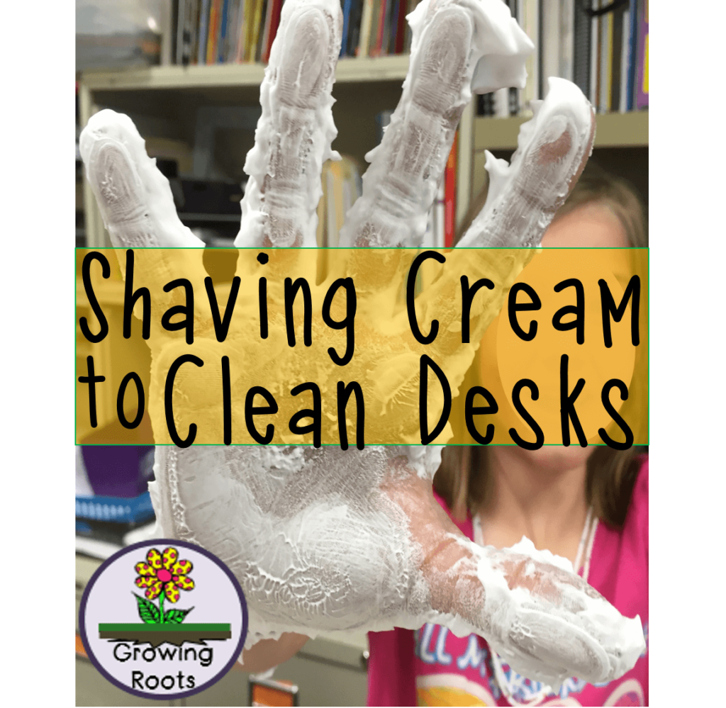Use this tutorial for using shaving cream to clean classroom desks anytime of the school year. It's cheap, easy, and allows the kids to play!