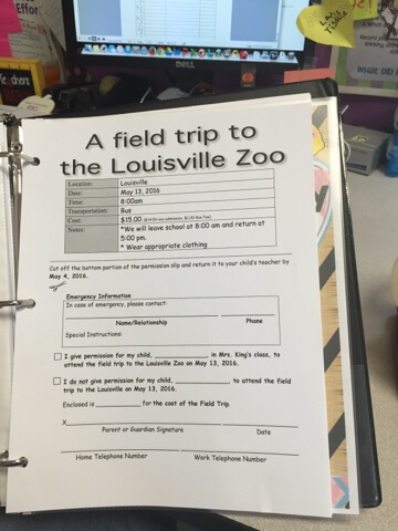 Are you in need of a system to help you organize field trips? This field trip binder will help you keep all documentation organized in one place, and you can take it with you on the field trips. It's a great solution to organization!