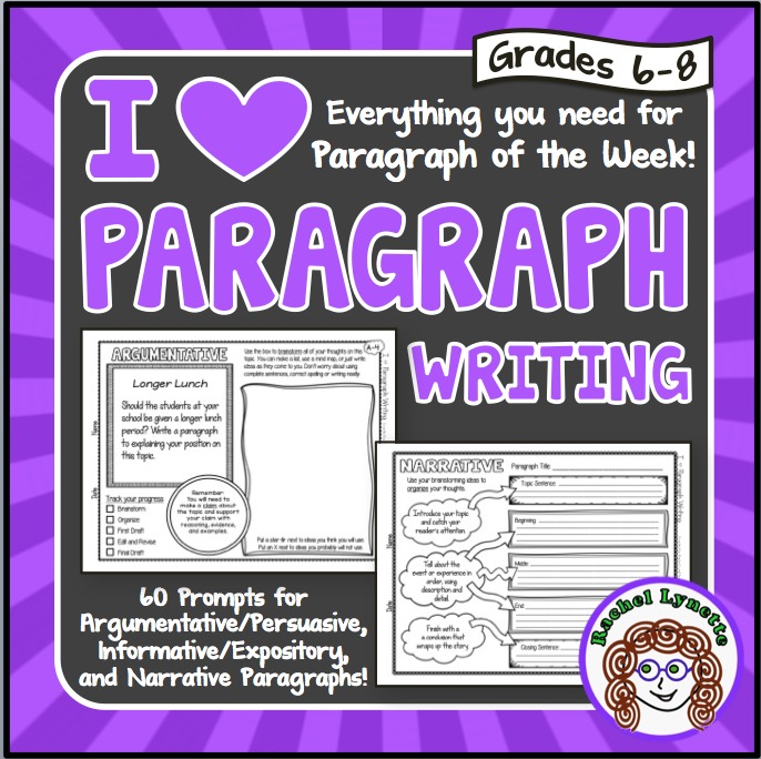Paragraph writing prompts and organizers
