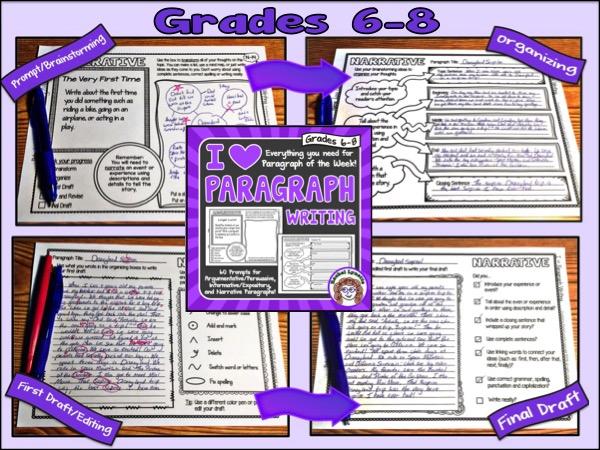 I Heart Paragraph Writing Grades 6-8