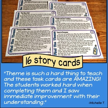 Story task cards for teaching theme