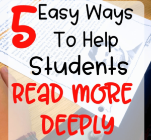 Help your students grow their reading comprehension skills with the tips and suggestions in this blog post about how to help students read more deeply! As teachers, we know there are many ways to work on reading comprehension strategies with our elementary students. We want to be sure they're reading deeply and pulling meaning from what they're reading. Click through to read this post about ways to help students read more deeply!