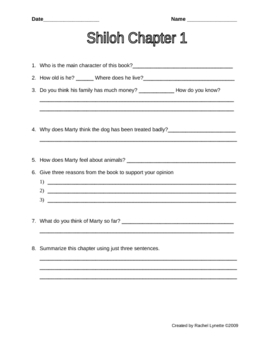 graphic regarding Shiloh Worksheets Printable called Shiloh Comprehending Worksheets