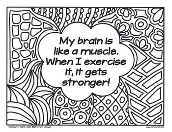 Growth Mindset Coloring Pages Affirmations Set