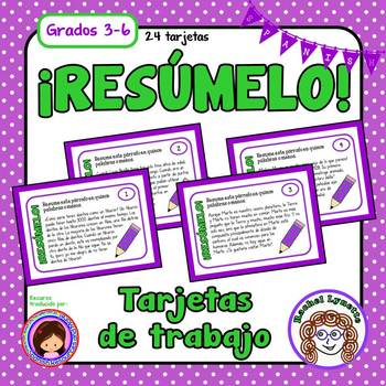 Tarjetas De Trabajo Resumen Summarizing Task Cards In