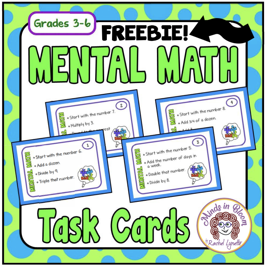 Get your free mental math task cards!