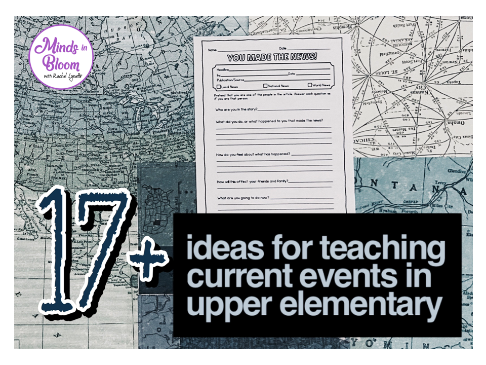 In today's world of digital media, our students often only hear about current events in passing, sometimes even over social media. Utilize these 23 no-fuss printable worksheets and activities to engage your students in the learning process while teaching current events in the upper elementary classroom! #currentevents #upperelementary #teachingcurrentevents